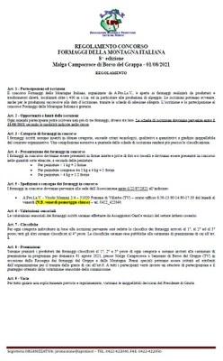 Regolamento 8° Concorso dei formaggi della montagna italiana